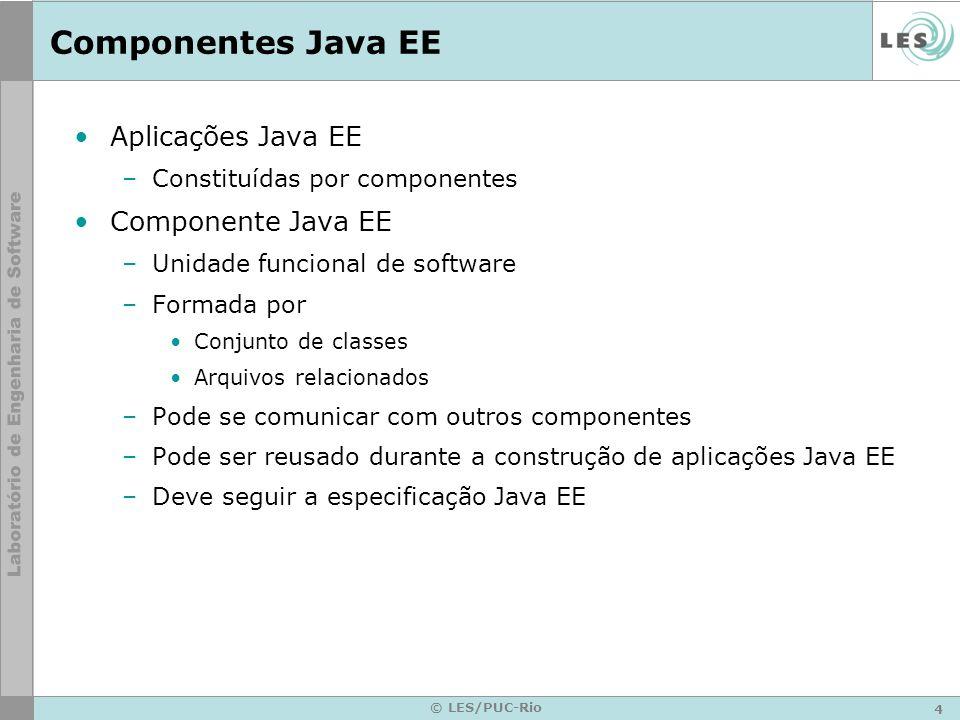 Componentes Java EE Aplicações Java EE Componente Java EE