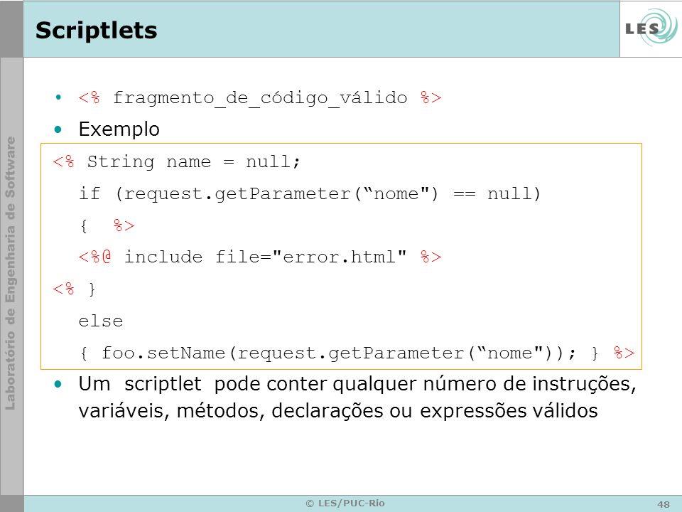 Scriptlets <% fragmento_de_código_válido %> Exemplo