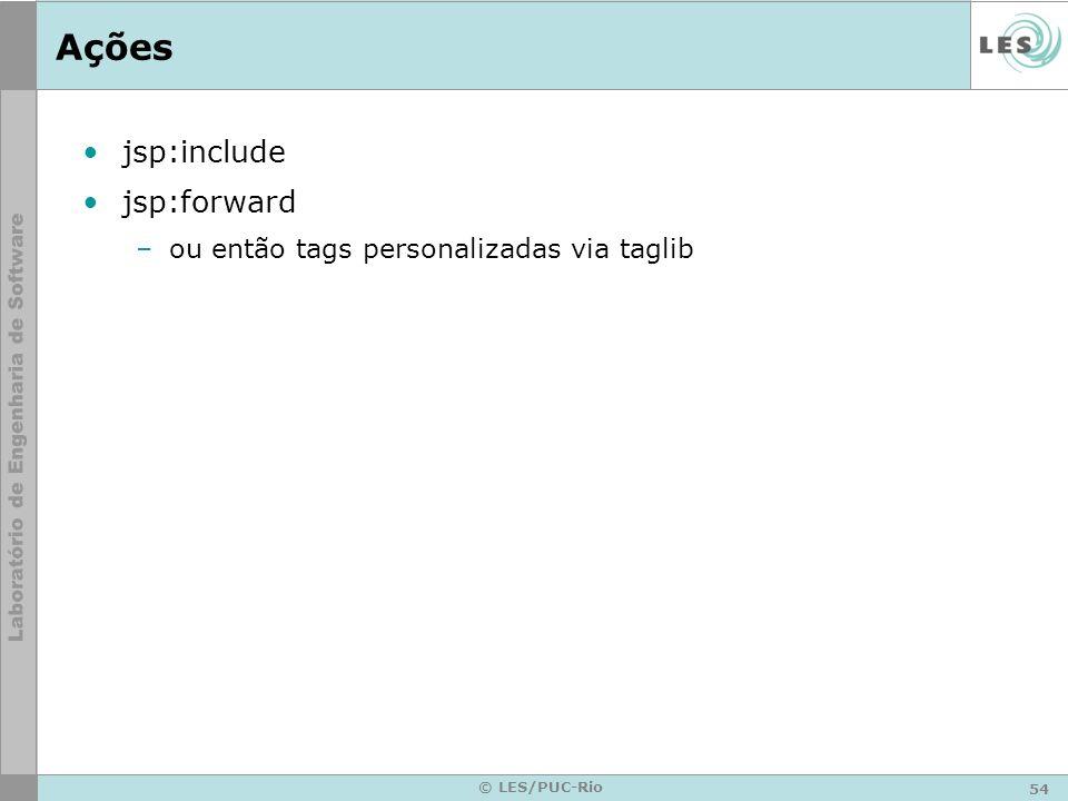 Ações jsp:include jsp:forward ou então tags personalizadas via taglib