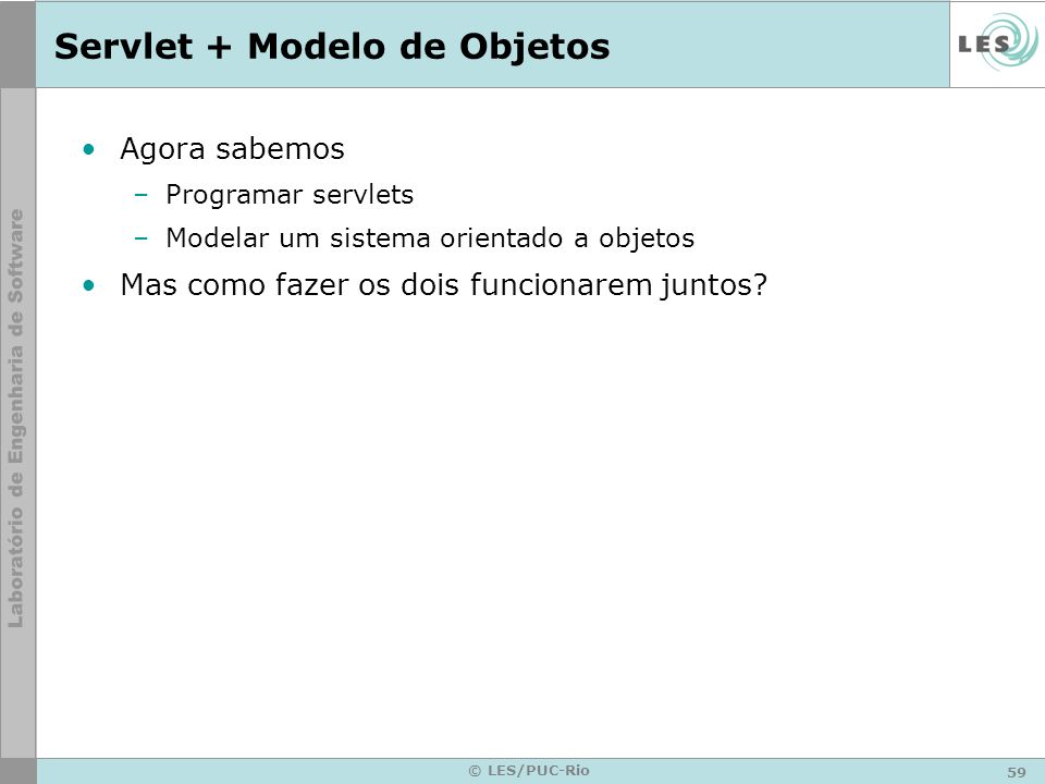 Servlet + Modelo de Objetos