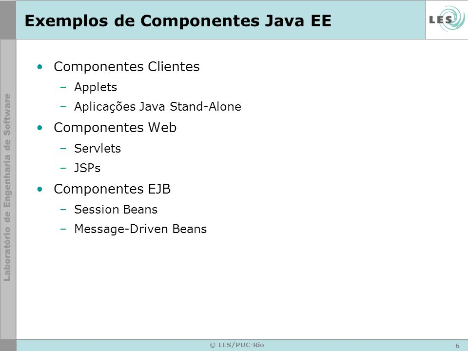 Exemplos de Componentes Java EE