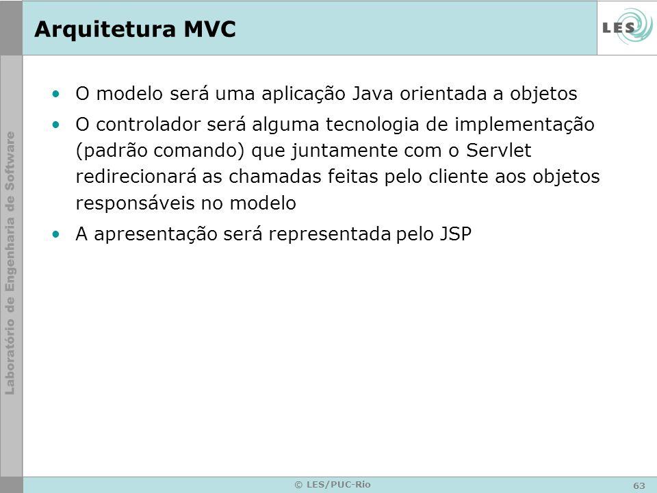 Arquitetura MVC O modelo será uma aplicação Java orientada a objetos
