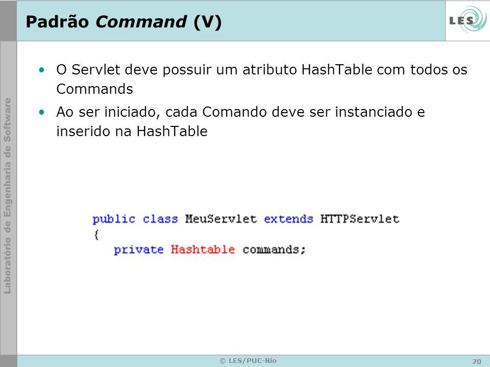 Padrão Command (V) O Servlet deve possuir um atributo HashTable com todos os Commands.