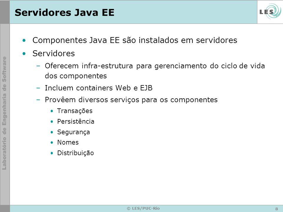 Servidores Java EE Componentes Java EE são instalados em servidores