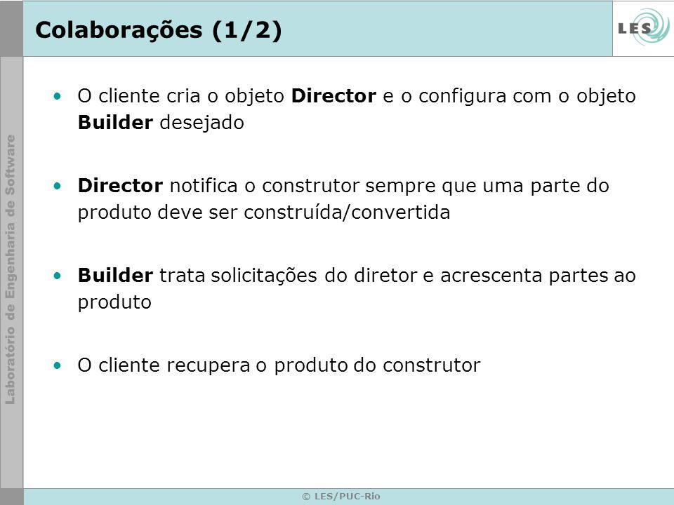 Colaborações (1/2) O cliente cria o objeto Director e o configura com o objeto Builder desejado.