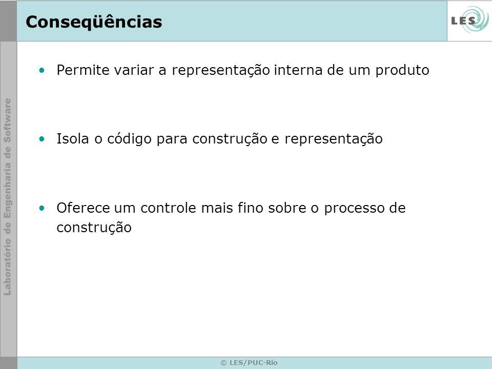 Conseqüências Permite variar a representação interna de um produto