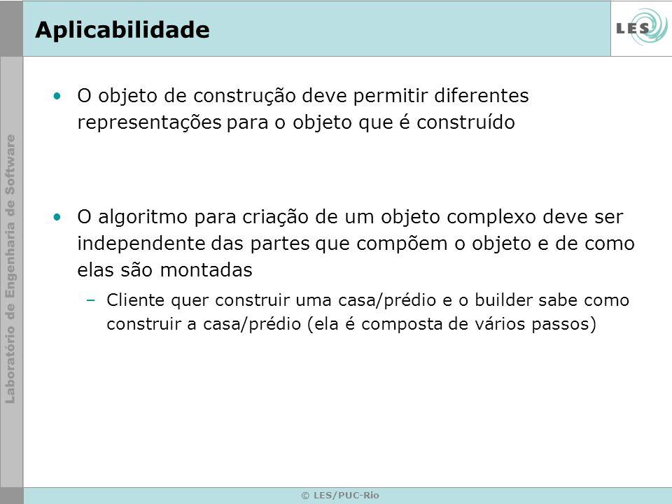 Aplicabilidade O objeto de construção deve permitir diferentes representações para o objeto que é construído.