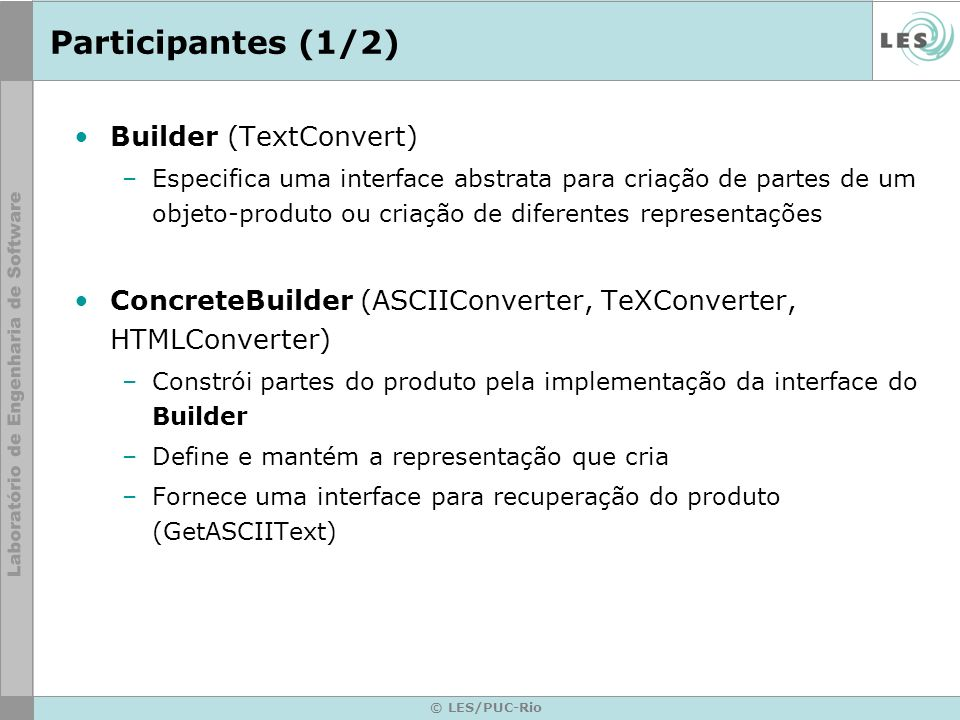 Participantes (1/2) Builder (TextConvert)