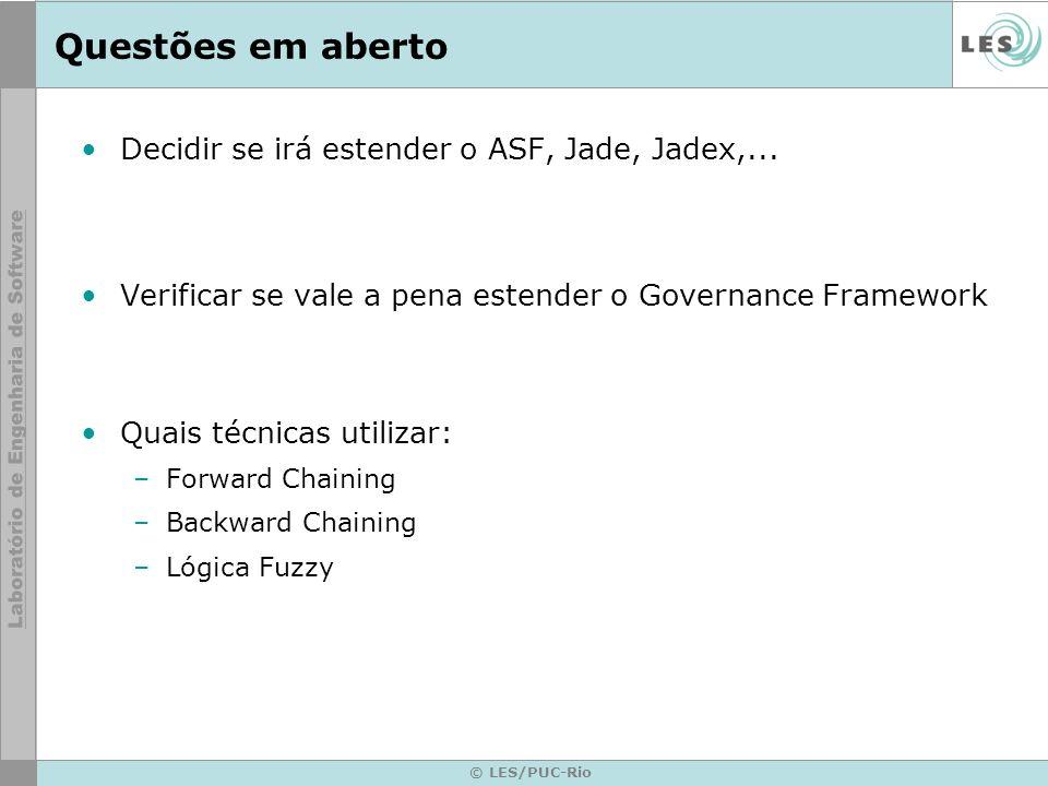 Questões em aberto Decidir se irá estender o ASF, Jade, Jadex,...