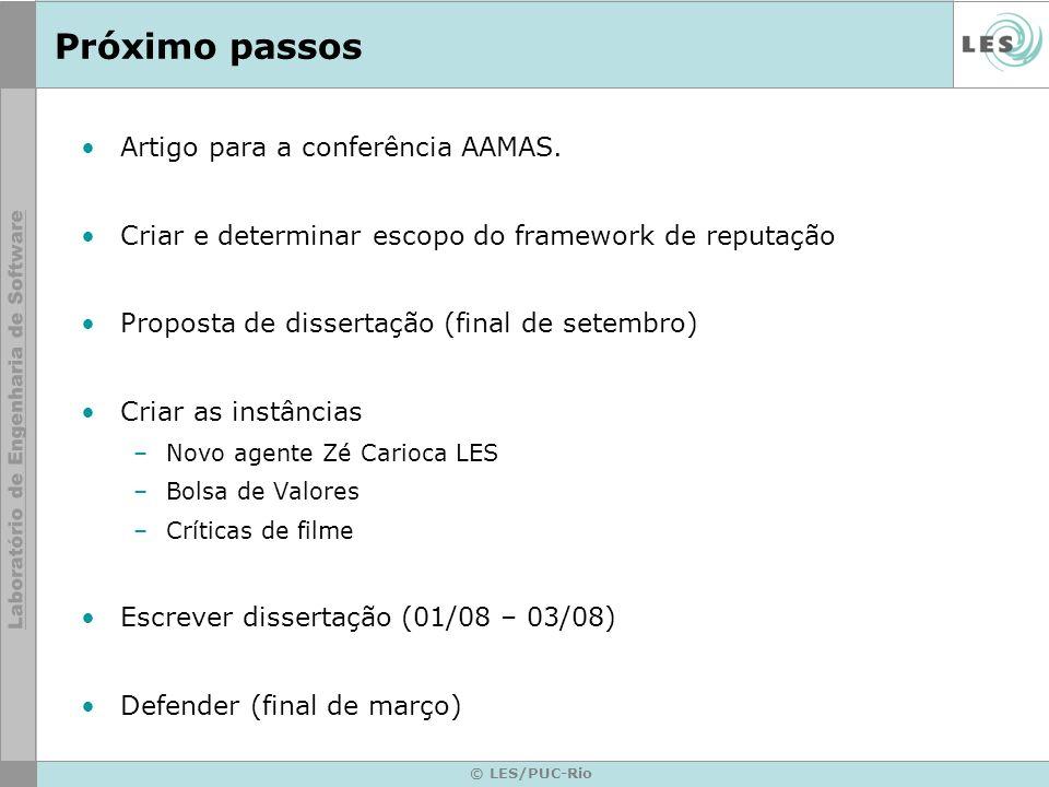 Próximo passos Artigo para a conferência AAMAS.