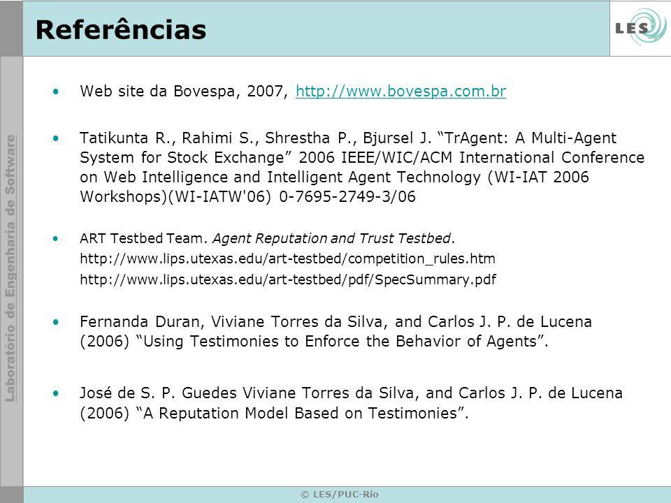 Referências Web site da Bovespa, 2007, http://www.bovespa.com.br