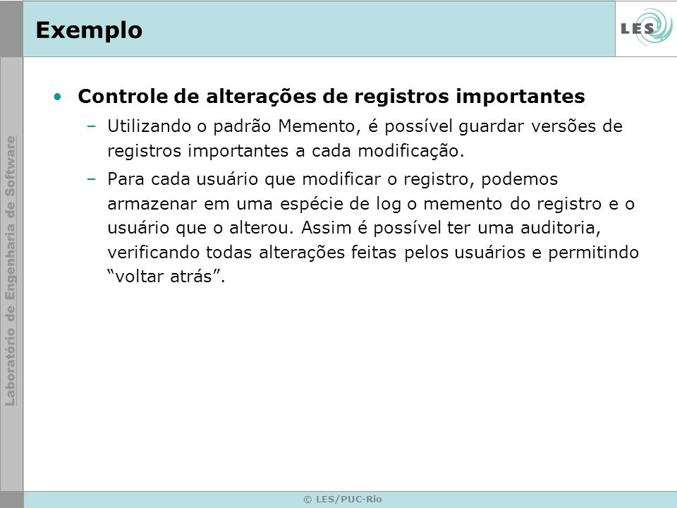 Exemplo Controle de alterações de registros importantes