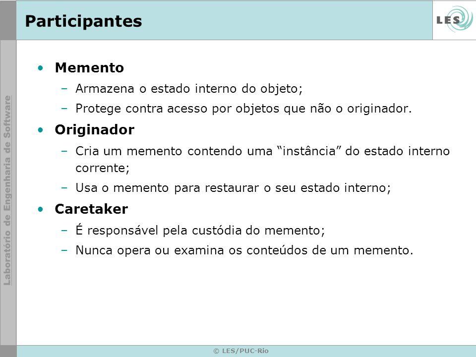 Participantes Memento Originador Caretaker
