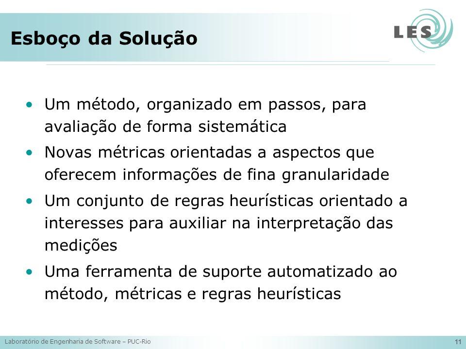 Esboço da Solução Um método, organizado em passos, para avaliação de forma sistemática.