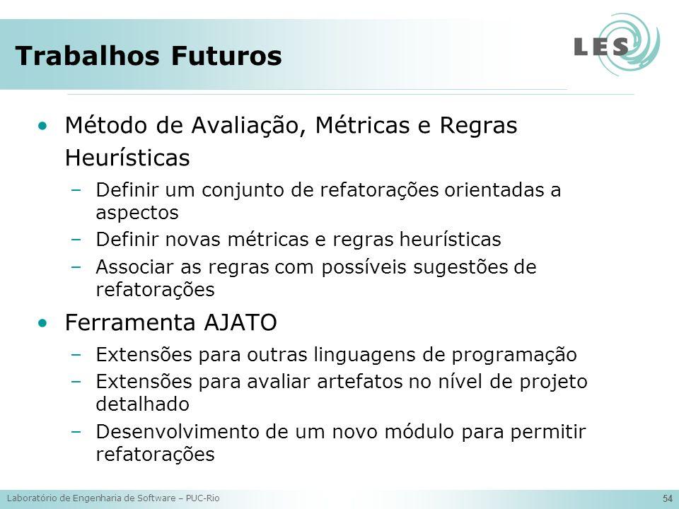 Trabalhos Futuros Método de Avaliação, Métricas e Regras Heurísticas