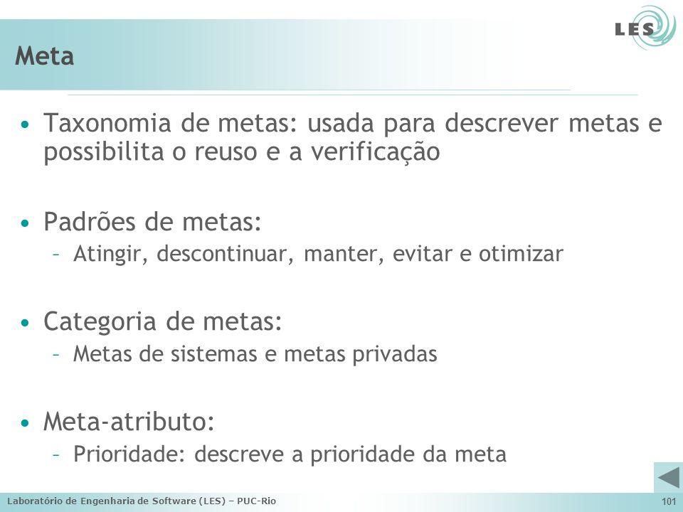 Meta Taxonomia de metas: usada para descrever metas e possibilita o reuso e a verificação. Padrões de metas:
