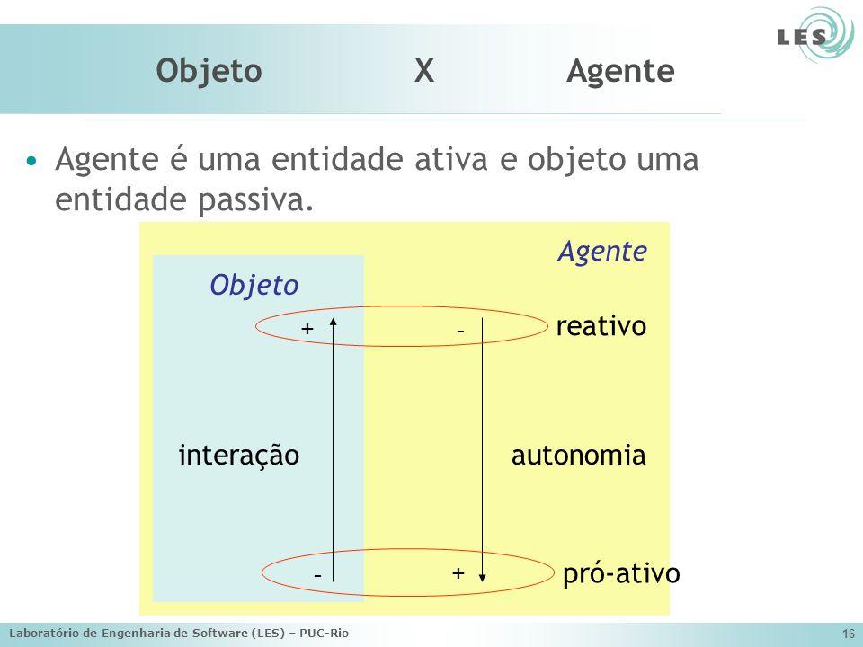 Agente é uma entidade ativa e objeto uma entidade passiva.