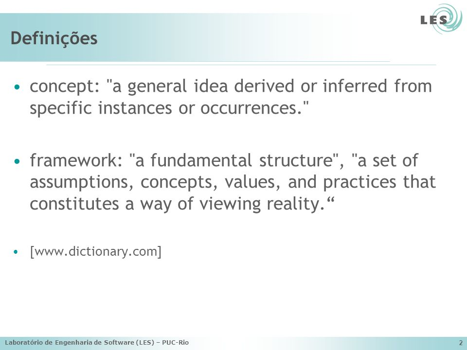 Definições concept: a general idea derived or inferred from specific instances or occurrences.