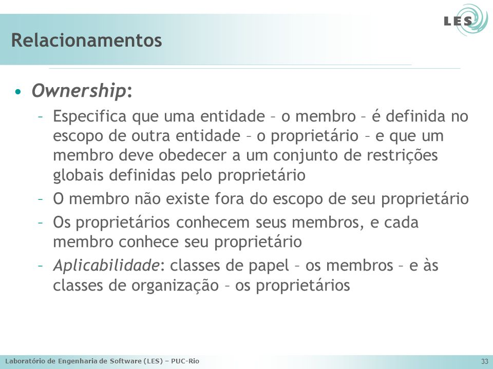 Relacionamentos Ownership: