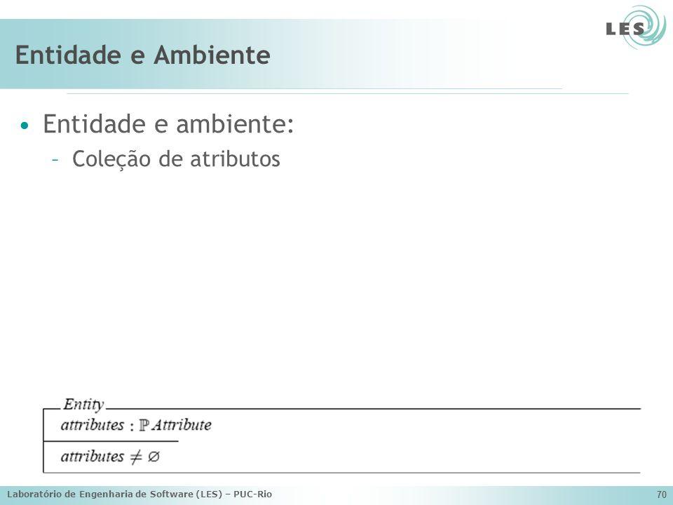 Entidade e Ambiente Entidade e ambiente: Coleção de atributos