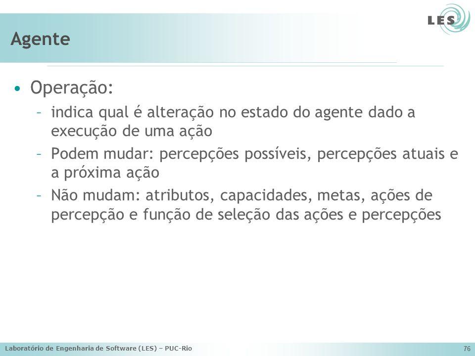 Agente Operação: indica qual é alteração no estado do agente dado a execução de uma ação.