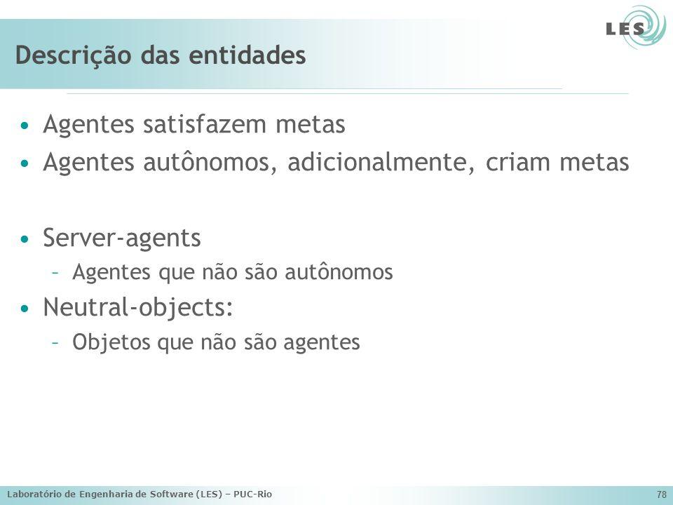 Descrição das entidades