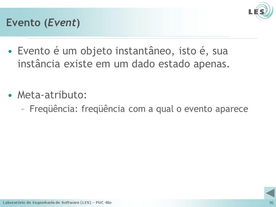 Evento (Event) Evento é um objeto instantâneo, isto é, sua instância existe em um dado estado apenas.