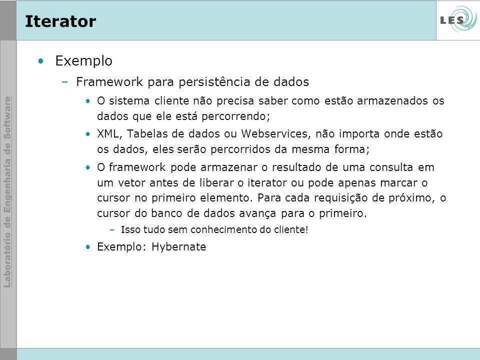 Iterator Exemplo Framework para persistência de dados