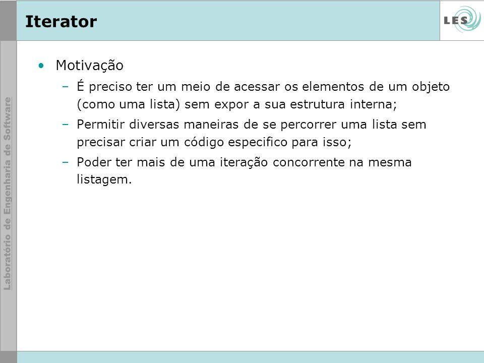 Iterator Motivação. É preciso ter um meio de acessar os elementos de um objeto (como uma lista) sem expor a sua estrutura interna;