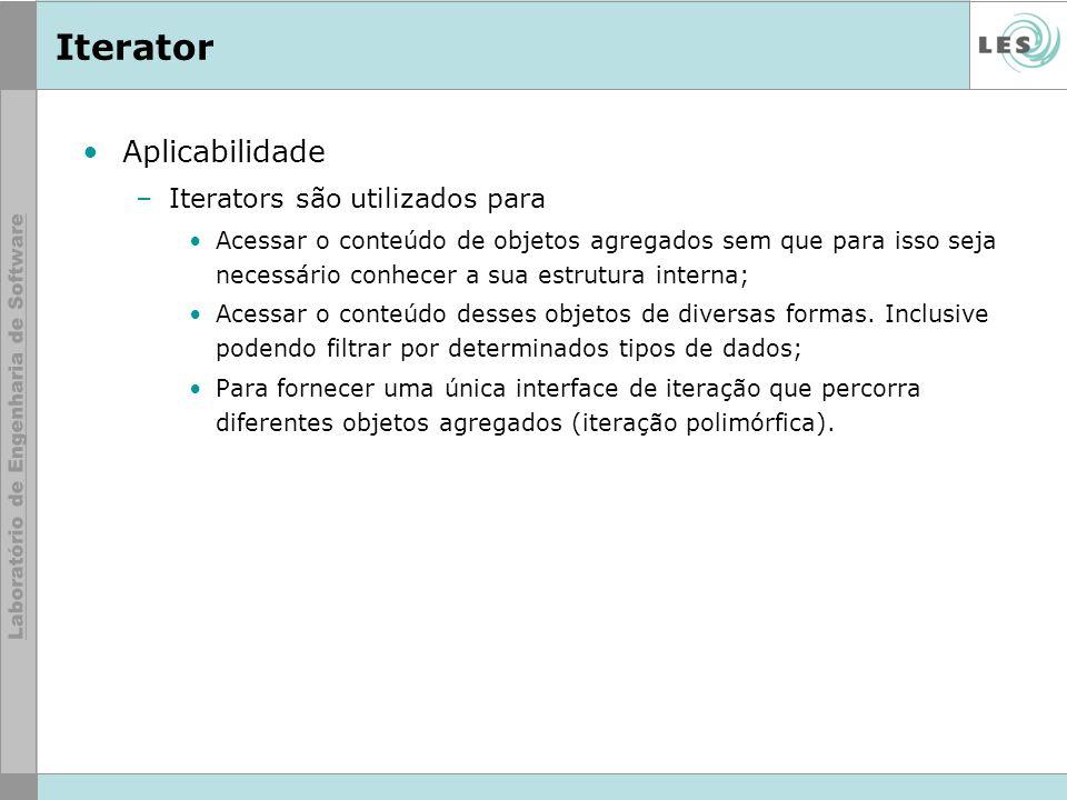 Iterator Aplicabilidade Iterators são utilizados para
