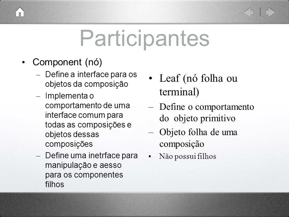 Participantes Leaf (nó folha ou terminal) Component (nó)