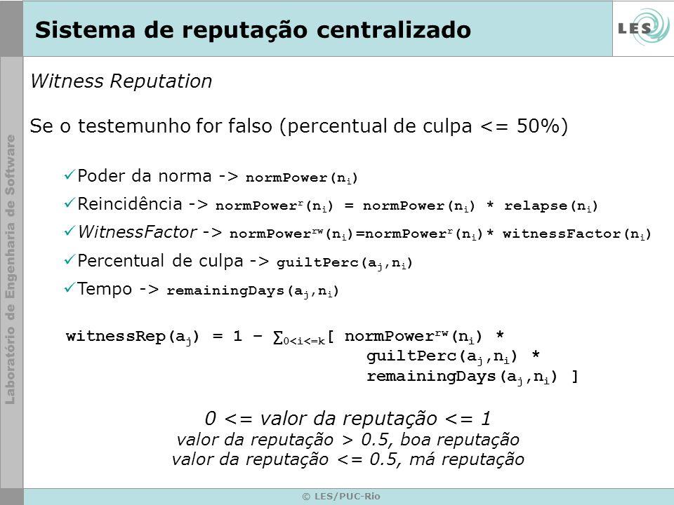 Sistema de reputação centralizado