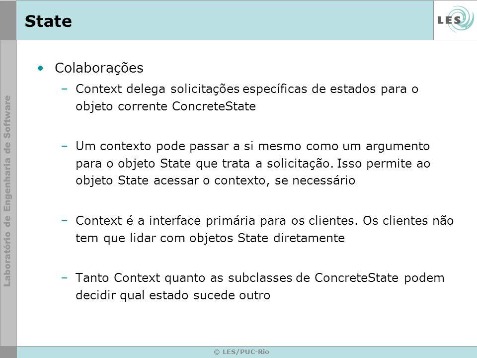 State Colaborações. Context delega solicitações específicas de estados para o objeto corrente ConcreteState.