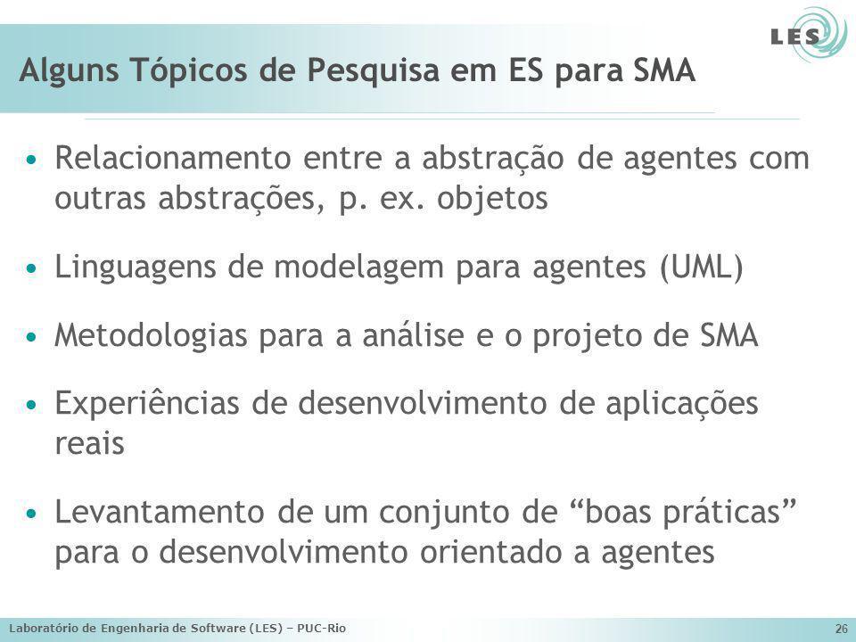 Alguns Tópicos de Pesquisa em ES para SMA