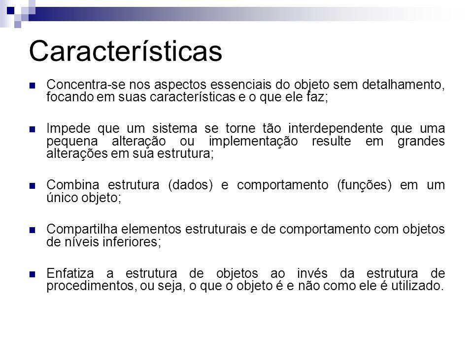 Características Concentra-se nos aspectos essenciais do objeto sem detalhamento, focando em suas características e o que ele faz;