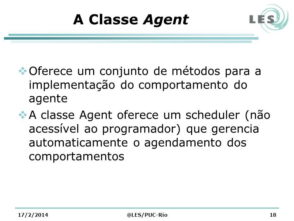 A Classe Agent Oferece um conjunto de métodos para a implementação do comportamento do agente.