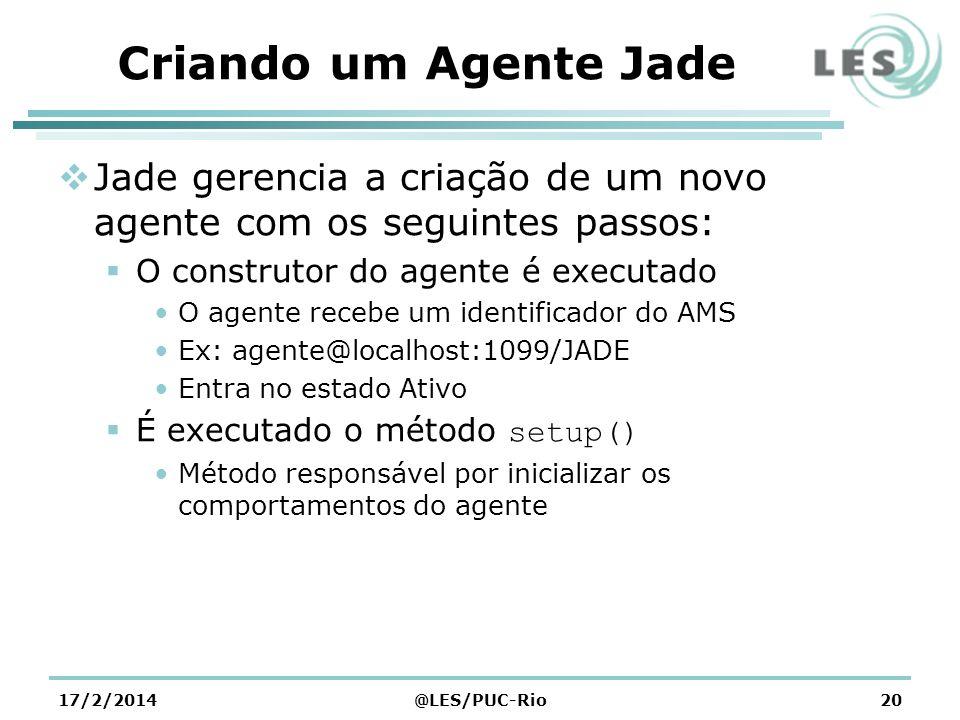 Criando um Agente Jade Jade gerencia a criação de um novo agente com os seguintes passos: O construtor do agente é executado.