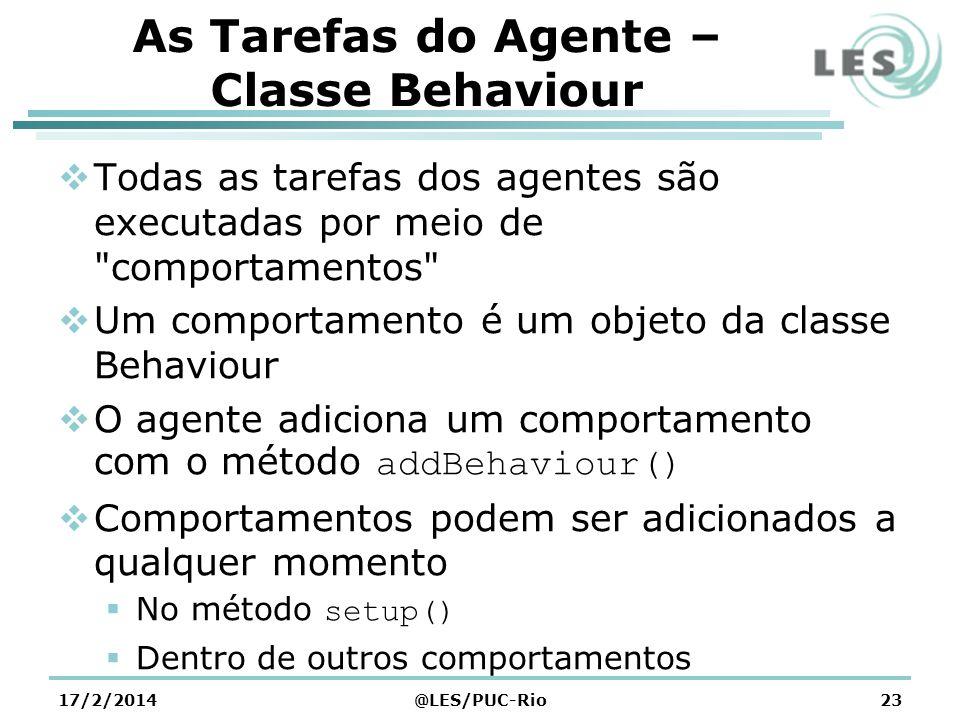 As Tarefas do Agente – Classe Behaviour