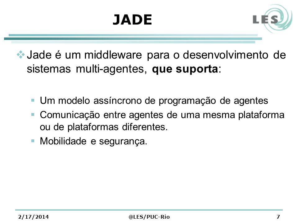 JADE Jade é um middleware para o desenvolvimento de sistemas multi-agentes, que suporta: Um modelo assíncrono de programação de agentes.