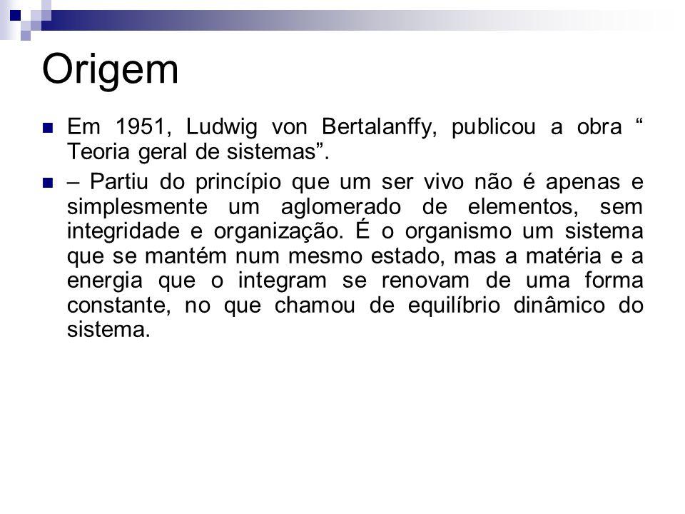 Origem Em 1951, Ludwig von Bertalanffy, publicou a obra Teoria geral de sistemas .