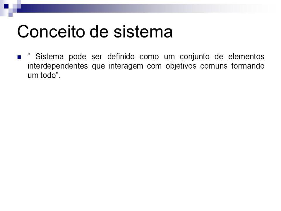 Conceito de sistema Sistema pode ser definido como um conjunto de elementos interdependentes que interagem com objetivos comuns formando um todo .
