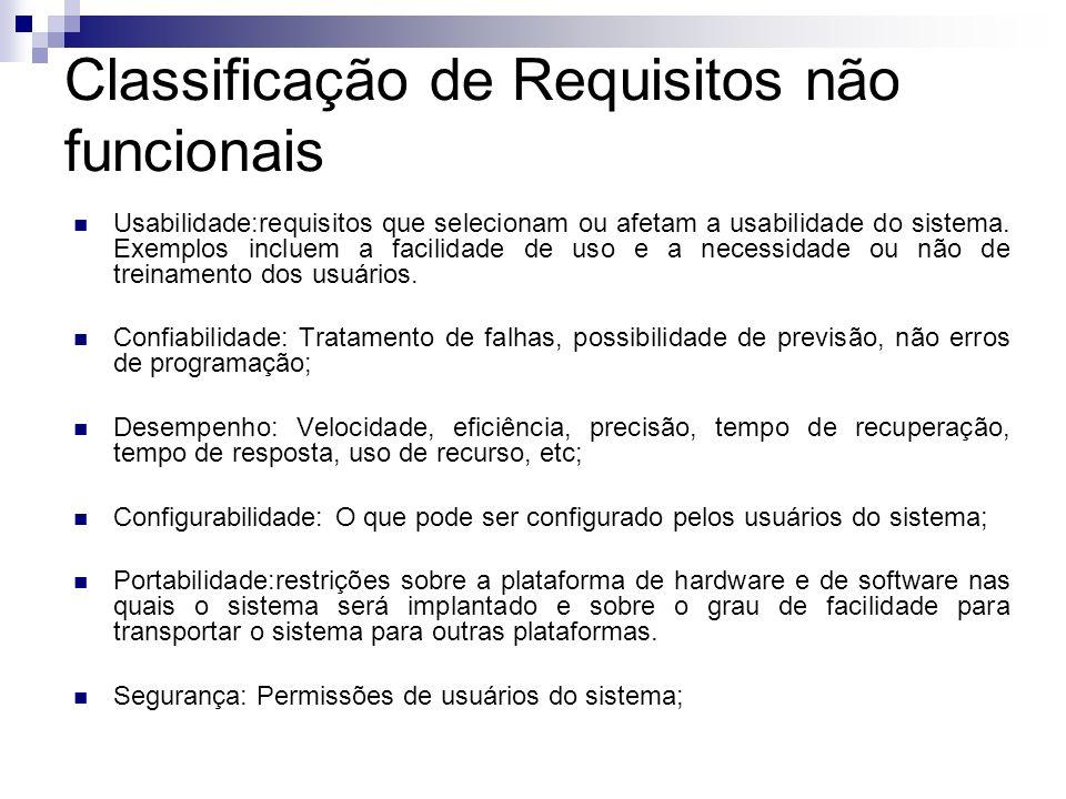 Classificação de Requisitos não funcionais