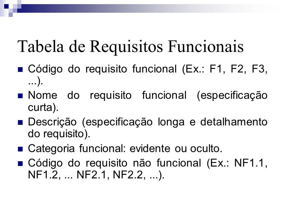 Tabela de Requisitos Funcionais