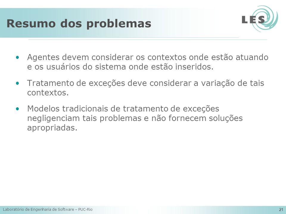 Resumo dos problemas Agentes devem considerar os contextos onde estão atuando e os usuários do sistema onde estão inseridos.