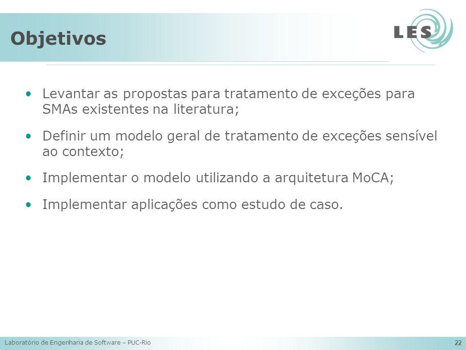 Objetivos Levantar as propostas para tratamento de exceções para SMAs existentes na literatura;