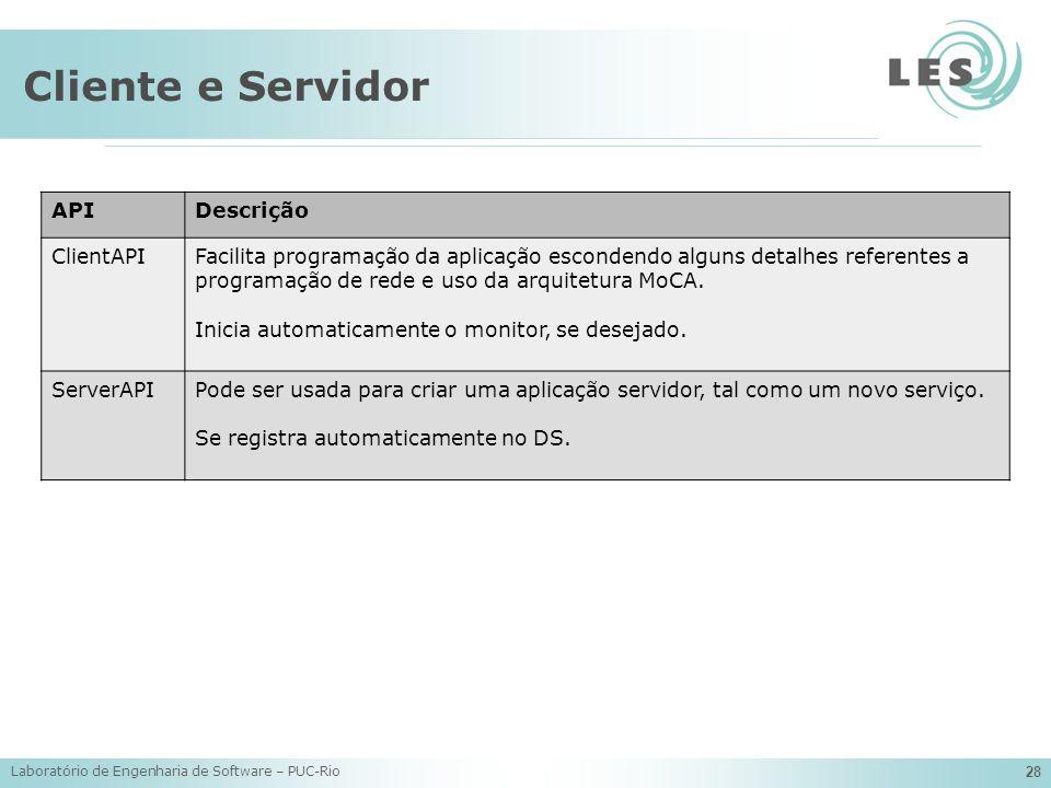 Cliente e Servidor API Descrição ClientAPI