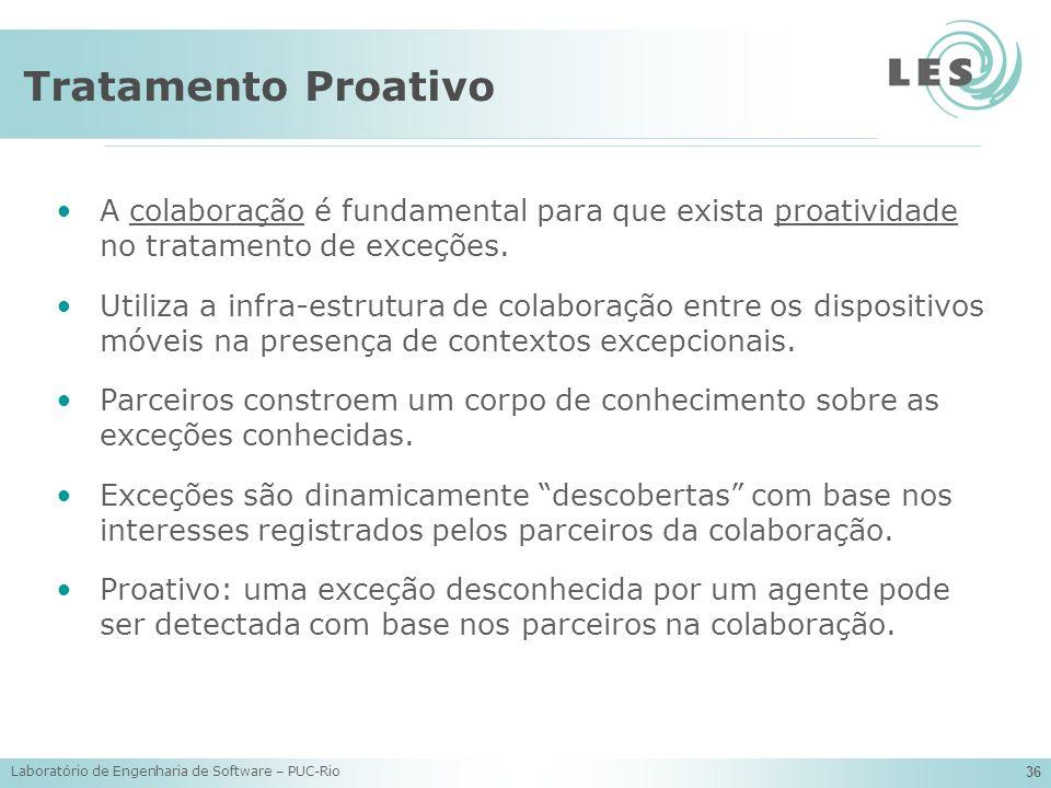 Tratamento Proativo A colaboração é fundamental para que exista proatividade no tratamento de exceções.
