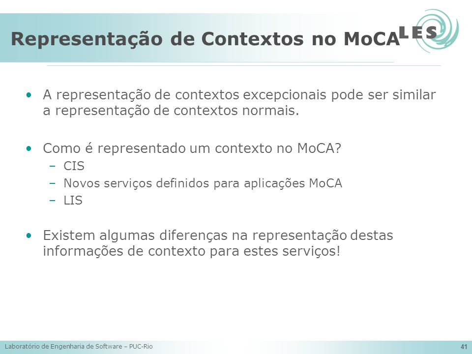 Representação de Contextos no MoCA
