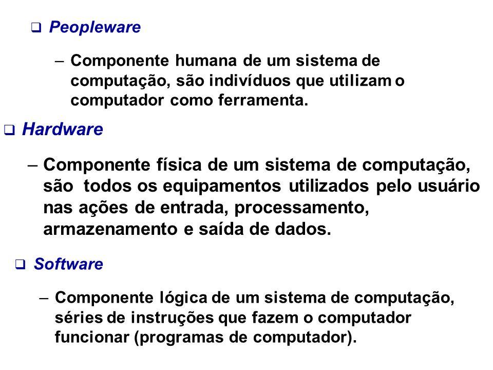 PeoplewareComponente humana de um sistema de computação, são indivíduos que utilizam o computador como ferramenta.