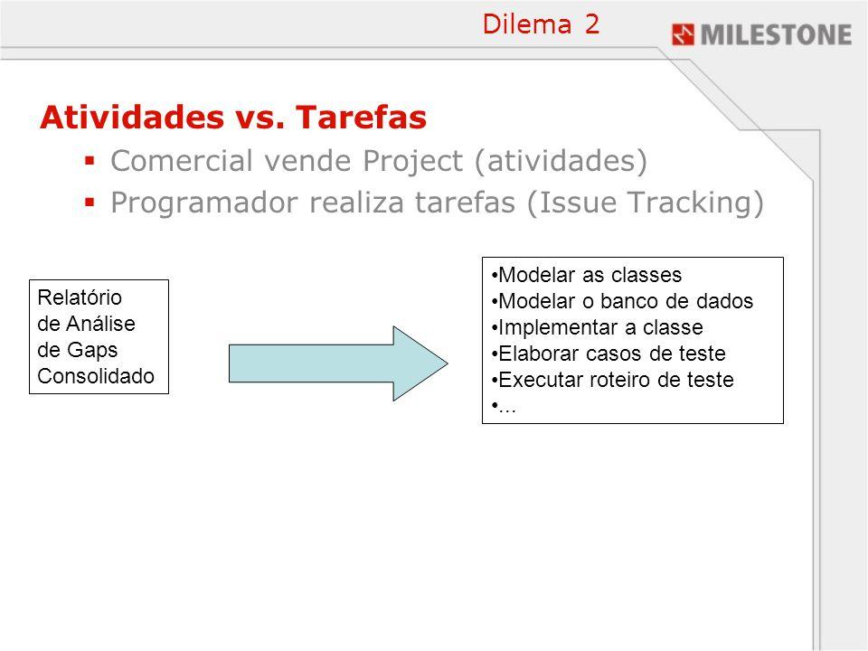 Atividades vs. Tarefas Comercial vende Project (atividades)
